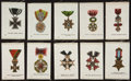 Non-Sport Cards:Sets, 1910-Era SC2 Military Medals and Orders Silks Near Set (38/55). ...