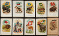 "Non-Sport Cards:Sets, 1910-Era SC1 Silks ""Animals with Flags"" Near Set (36/55) - One inOriginal(?) Wax Paper Envelope. ..."