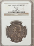 Bust Half Dollars, 1832 50C Small Letters Fine 15 NGC. 0-116. NGC Census: (13/1753).PCGS Population (12/1903). Mintage: 4,797,000. Numism...