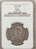 Bust Half Dollars, 1818 50C VF20 NGC. O-111. NGC Census: (9/496). PCGS Population(18/643). Mintage: 1,960,322. Numismedia Wsl. Price for prob...