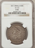Bust Half Dollars, 1811 50C Small 8 Fine 15 NGC. O-112. NGC Census: (0/0). PCGSPopulation (6/367). (#6097)...