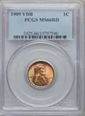 Lincoln Cents: , 1909 VDB 1C MS66 Red PCGS. PCGS Population (1923/206). NGC Census:(1385/101). Mintage: 27,995,000. Numismedia Wsl. Price f...