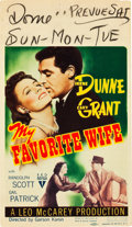 "Movie Posters:Comedy, My Favorite Wife (RKO, 1940). Midget Window Card (8"" X 14"").. ..."