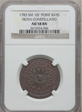 Colonials, 1783 COPPER Nova Constellatio Copper, Pointed Rays, Small US AU58NGC. Crosby 2-B, W-1865, R.2....