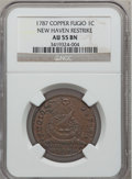 Colonials, 1787 1C Fugio Cent, New Haven Restrike, Copper AU55 NGC. N. 104-FF,W-17560....
