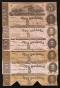 Confederate Notes:1862 Issues, T53 $5 1862. Six Examples.. ... (Total: 6 notes)
