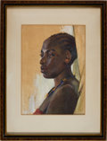 Art, Framed Gauche Portrait of an African Nubian Princess by Mabel J.Hutchins Circa 1932....