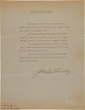 """Autographs:Others, 1941 Joe McCarthy Signed Statement Regarding """"The Pride of theYankees.""""..."""