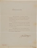 "Autographs:Others, 1941 Joe DiMaggio Signed Statement re: ""The Pride of the Yankees.""..."