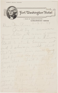 1944 Grover Cleveland Alexander Handwritten Signed Letter re: Famous Lazzeri Strike Out