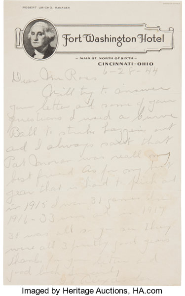 1944 Grover Cleveland Alexander Handwritten Signed Letter Re