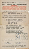 Autographs:Others, 1925 New York Yankees Purchase of Tony Lazzeri Contract....