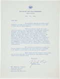 Autographs:Letters, 1955 Richard Nixon Signed Letter re: Hall of Fame Day at YankeeStadium....