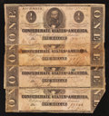 Confederate Notes:1862 Issues, T55 $1 1862. Four Examples.. ... (Total: 4 notes)