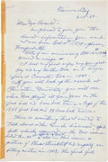 Autographs:Letters, 1962 George Hildebrand Handwritten Signed Letter re: TheSpitball....