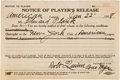 "Autographs:Others, 1918 Eddie Plank ""Notice of Player's Release"" Ending His Career...."