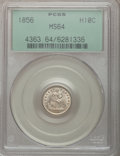Seated Half Dimes: , 1856 H10C MS64 PCGS. PCGS Population (81/22). NGC Census: (95/106).Mintage: 4,880,000. Numismedia Wsl. Price for problem f...