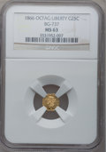 California Fractional Gold: , 1866 25C Liberty Octagonal 25 Cents, BG-737, R.5, MS63 NGC. PCGSPopulation (10/2). (#10564)...