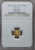 California Fractional Gold: , 1880/70 50C Indian Round 50 Cents, BG-1067, Low R.4, MS63 ProoflikeNGC. NGC Census: (3/5). (#7108...