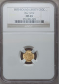 California Fractional Gold: , 1870 50C Liberty Round 50 Cents, BG-1010, R.3, MS65 NGC. NGCCensus: (3/1). PCGS Population (17/2). (#10839)...