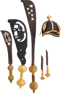 Edged Weapons:Knives, Lot of Six Assorted West African Ceremonial Ethnographic Weapons and One Hat.... (Total: 6 Items)