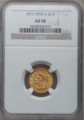 Liberty Quarter Eagles: , 1873 $2 1/2 Open 3 AU58 NGC. NGC Census: (114/519). PCGS Population(58/343). Mintage: 122,800. Numismedia Wsl. Price for p...