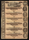 Confederate Notes:1864 Issues, T68 $10 1864. Six Examples.. ... (Total: 6 notes)