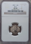 Bust Dimes: , 1827 10C AU58 NGC. JR-3. NGC Census: (37/156). PCGS Population(26/132). Mintage: 1,300,000. Numismedia Wsl. Price for pro...