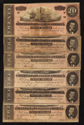 Confederate Notes:1864 Issues, T67 $20 1864. Six Examples.. ... (Total: 6 notes)