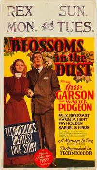 """Blossoms in the Dust (MGM, 1941). Midget Window Card (8"""" X 14"""")"""