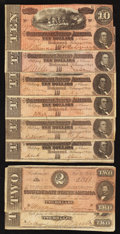 Confederate Notes:1864 Issues, T68 $10 1864. Six Examples.. T70 $2 1864. Two Examples.. ... (Total: 8 notes)