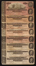 Confederate Notes:1864 Issues, T67 $20 1864. Eight Examples.. ... (Total: 8 notes)