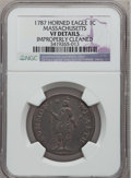 Colonials: , 1787 1C Massachusetts Cent, Horned Eagle -- Improperly Cleaned --NGC Details. VF. NGC Census: (1/18). PCGS Population (5/5...
