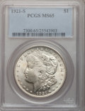 Morgan Dollars: , 1921-S $1 MS65 PCGS. PCGS Population (722/26). NGC Census:(719/52). Mintage: 21,695,000. Numismedia Wsl. Price for problem...