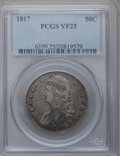 Bust Half Dollars: , 1817 50C VF25 PCGS. PCGS Population (27/468). NGC Census: (13/345).Mintage: 1,215,567. Numismedia Wsl. Price for problem f...