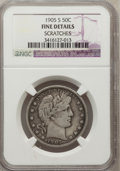 Barber Half Dollars, 1905-S 50C -- Scratches --NGC Details. Fine. NGC Census: (1/78).PCGS Population (14/187). Mintage: 2,494,000. Numismedia W...