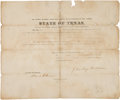 Autographs:Statesmen, David G. Burnet and James Pinckney Henderson Military AppointmentSigned as Texas Secretary of State and Governor of Texas r...