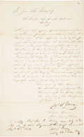 """Autographs:Military Figures, Thomas Jefferson Green Military Appointment Twice Signed """"Thos.J. Green"""" as """"Brigadier General of the Army of Texas..."""