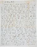 "Autographs:Military Figures, [First Battle of Galveston Bay]. Henry W. Washburn Autograph Letter Signed. Four lined pages, 8"" x 10"", Galveston, October 6..."