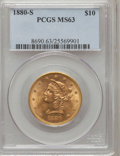 Liberty Eagles: , 1880-S $10 MS63 PCGS. PCGS Population (43/6). NGC Census: (34/3).Mintage: 506,250. Numismedia Wsl. Price for problem free ...