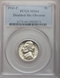 Jefferson Nickels: , 1943-P 5C Doubled Die Obverse MS64 PCGS. PCGS Population (23/98).NGC Census: (0/0). (#4174)...