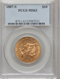 Liberty Eagles: , 1887-S $10 MS63 PCGS. PCGS Population (85/2). NGC Census: (62/10).Mintage: 817,000. Numismedia Wsl. Price for problem free...