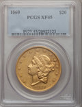 Liberty Double Eagles: , 1860 $20 XF45 PCGS. PCGS Population (112/337). NGC Census:(97/597). Mintage: 577,670. Numismedia Wsl. Price for problem fr...