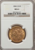 Liberty Eagles: , 1884-S $10 MS61 NGC. NGC Census: (152/57). PCGS Population (83/84).Mintage: 124,250. Numismedia Wsl. Price for problem fre...