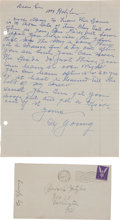 Autographs:Letters, 1945 Cy Young Handwritten Signed Letter....
