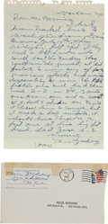 Autographs:Others, 1965 Tom Zachary Handwritten Letter Discussing Giving Up BabeRuth's Record 60th Home Run of 1927....
