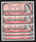Canadian Currency: , BC-38b $2 1954 Modified Portrait. Five Examples.. ... (Total: 5notes)
