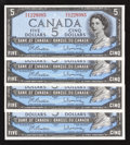 Canadian Currency: , BC-39b $5 1954 Modified Portrait Four Examples.. ... (Total: 4notes)