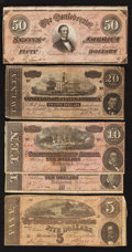 Confederate Notes:1864 Issues, Five 1864 Notes.. ... (Total: 5 notes)