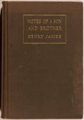 Books:Biography & Memoir, Henry James. Notes of a Son and Brother. New York: CharlesScribner's Sons, 1914. First edition. Octavo. 515 pag...